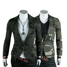 Mens Casual Military Slim One Button Suit Pop Blazer Coat Jacket Camo UK Gray