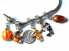 FALL AUTUMN THANKSGIVING CHARM FITS EUROPEAN BRACELETS -BUY 3 GET 1 FREE