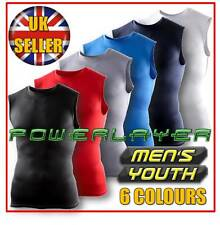 Mens Boys Body Armour Compression Baselayer Sleeveless Vest Thermal Under Top