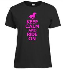 Keep Calm and Ride On Womens T-Shirt Horse Back Riding Horse Show Womens Tee