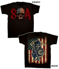 SONS OF ANARCHY SKULL LOGO & AMERICAN FLAG T-SHIRT NEW !