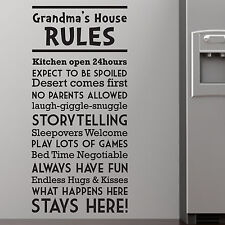 HOUSE RULES, LARGE WALL STICKER, Grandma, Kids, Fun, Games, Giggle, SS379