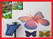Solar Powered Dancing Butterfly Dragonfly Hummingbird Garden yard Fly on flower