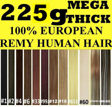 MEGA THICK DELUX FULL HEAD CLIP IN REMY HUMAN HAIR EXTENSIONS Brown Blonde Black