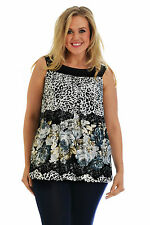 New Womens Top Ladies Plus Size Animal Floral Print Ruffle Tunic Summer Nouvelle