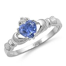 womens irish claddagh heart tanzanite cz 925 silver ring size 4 5 6 7 8 9 10