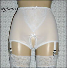 6 Strap Vintage Style Viva Crotchless Girdle White Powermesh *FREE SHIPPING*