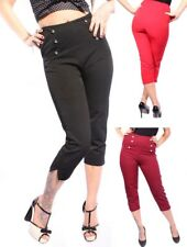 50er Retro pin up Rockabilly High Waisted Uniform Caprihose CAPRI Hose