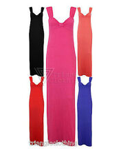 Ladies Womens Maxi Dress Bow Neckline Thick Strap Beach Summer Long Stretch