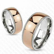Solid Ti Titanium Rose Gold Stripe Fancy Milgrained Band Ring Size 5-13