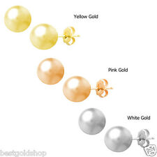 5mm All Polished Ball Stud Earrings Real 14K Yellow Rose Pink or White Gold