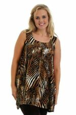 New Womens Top Ladies Plus Size Sequin Glitter Tiger Print Party Tunic Nouvelle