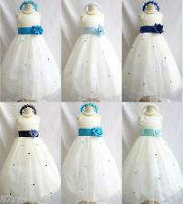 Ivory blue toddler teen pageant flower girl dress size 12m 18m 24m 2 4 6 8 10 12