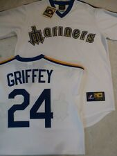 727 Licensed MAJESTIC THROWBACK Seattle Mariners KEN GRIFFEY JR Baseball JERSEY