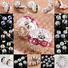 Crystal Rhinestone Lace Flower Round Ball Loose Spacer Beads Jewelry DIY Finding