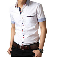 SD46 New Mens Fashion Casual Luxury Dress Slim Fit Short Sleeves Shirts