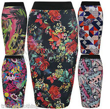 Ladies Womens Stretch Pencil Midi Skirt Graphic Prints Neon Floral Graffiti