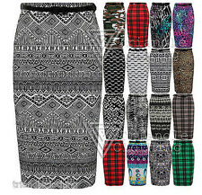 Ladies Women Belted Midi Pencil Skirt Stretch Fit Camouflage Tribal Aztec Animal