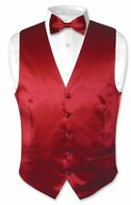 Biagio Men's SILK Dress Vest & Bow Tie Solid DARK RED BowTie Set for Suit or Tux
