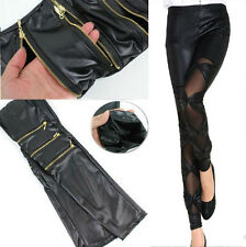 Hot sexy women punk faux leather lace-up tight pants stitching stretchy trousers