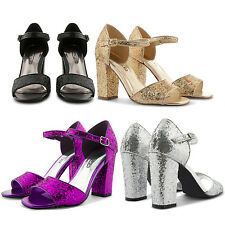 NEW LADIES SPARKLY GLITTERY RETRO HIGH BLOCK HEEL CHUNKY OPEN TOE SANDALS SHOES