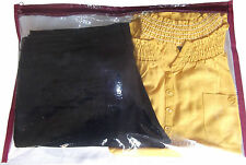 "10 x Both Side CLEAR Plastic Clothes Sari Saree Fabric Storage Bags Zip 19"" Wide"