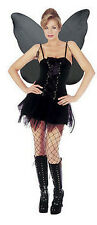 Ladies Womens Bad Fairy Black Fancy Dress Outfit Costume Full Lace Up Bodice