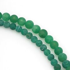 "8"" 6mm 8mm 10mm 12mm Green Fire Agate Gemstone Round Beads Matte Finish Strands"