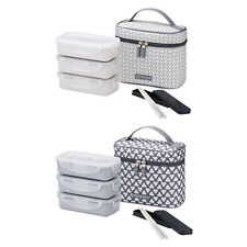 Lock&Lock BPAfree Bento Lunch Box Set with Chopstics Insulated Bag 3 Boxes