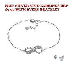 Sterling Silver Infinity Bracelet WITH FREE STUDS RRP £9.99