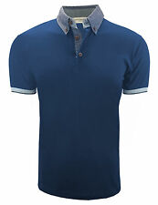 MENS SLIM FIT PRINTED HIGH COLLAR POLO SHIRT DESIGNER T-SHIRTS M-L C3