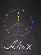 GIRLS/YOUTH  Peace Sign Personalized w/ Childs Name Rhinestone Shirt Custom