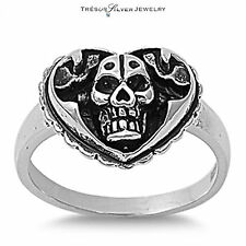 sterling silver skull & heart fashion ring size 5 6 7 8 9 10