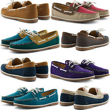 NEW LADIES CASUAL COMFY FLAT PRACTICAL LACE UP MOCCASINS DECK BOAT SUMMER SHOES