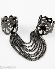 Chain Ring Gold Silver Fashion Gaga Sexy Gunmetal One Size Two Finger 2 Rings