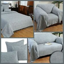 Grey Handwoven Large Throw Bedspread Sofa Bed Blanket Cotton Filled Cushions