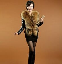 90047 new real raccoon collar  fur down &sheep leather  7 color  jacket/coat
