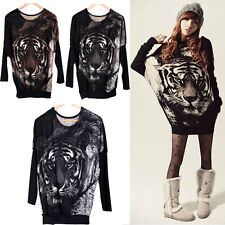 Women Tiger Printed Batwing Knitted Long Blouse Tops Jumper Pullover Sweater