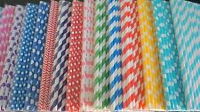 50 pcs Colorful Drinking Paper Straws Striped Polka Drinking Wedding Party G1023