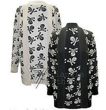 Ladies Womens Skull and Cross Bones Cardigan Knitted Top Jumper Pirate Religion
