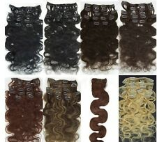 CLIP IN HUMAN HAIR EXTENSIONS ★7PCS BODY WAVY 70G ★NEW