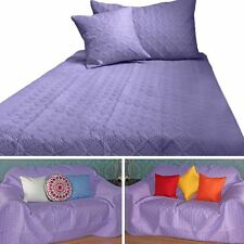 Purple Quilted Bedspread Throws & Filled Cushion Covers Large Small Blanket Bed