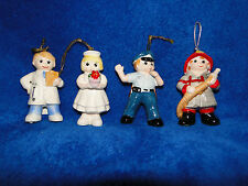 NEW CERAMIC 1986 ENESCO POLICEMAN, FIREMAN, DOCTOR OR NURSE ORNAMENT KEEPSAKE