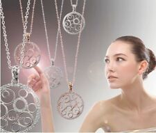 Lady   Crystal Necklace Chain Hollow Round Circle Pendant Silver Plated