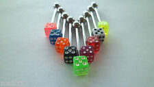 UV Dice Tongue Bar/Barbell 14g 316L Steel Choice Of 9 Colours Free P & P
