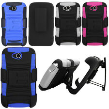 For Coolpad Quattro 4G 5860E Rugged Hybrid Stand Holster Rubber Hard Case Cover