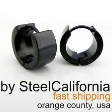 Mens Earrings BOLD Black Huggie Hoops (Size M)