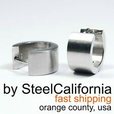 Mens silver earrings, bold huggie hoop earrings for guys, stainless steel hoops