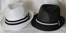 Kids, Children's and Toddler, Boys & Girls Straw Fedora Hat - Free Shipping