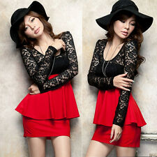 Korean Patchwork Lace Long Sleeve Womens Peplum Flouncing Party Mini Dress New